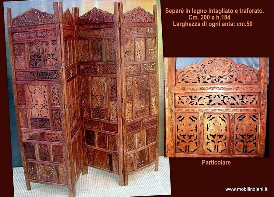 ... etnico. Paravento etnico in legno intagliato. Cm. 200 x h. 184. India