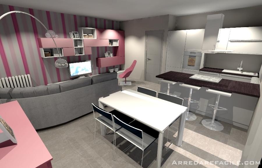 Foto soggiorno e cucina con penisola di arredarefacile - Cucina e soggiorno insieme ...