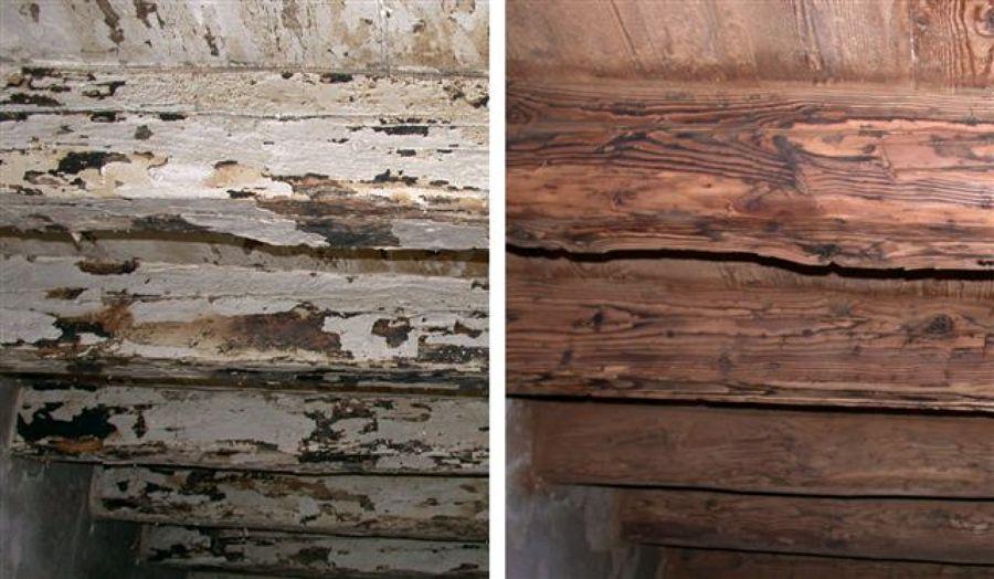 Solaio legno a confronto dopo sabbiatura e trattamento