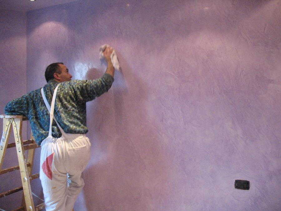 Foto stucco grassello di calce lilla di edicolor for Grassello di calce spatolato