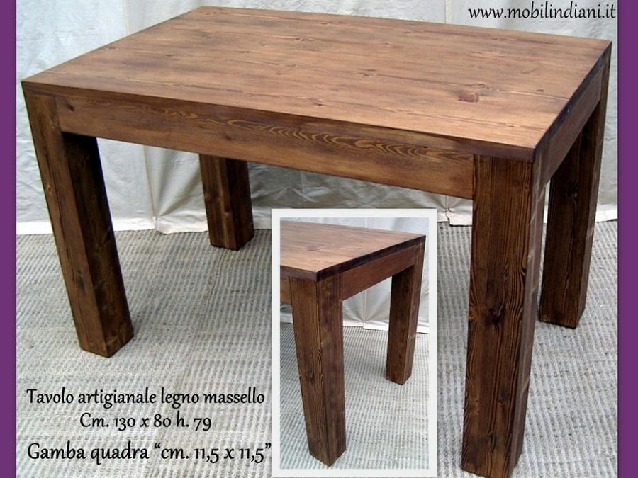 Foto tavolo da cucina legno massello di mobili etnici for Tavoli per cucina in legno