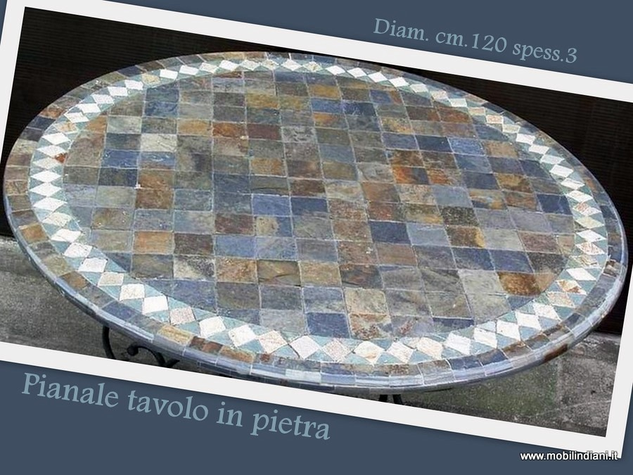 Foto tavolo in pietra da giardino de mobili etnici 61521 for Mosaico arredamenti