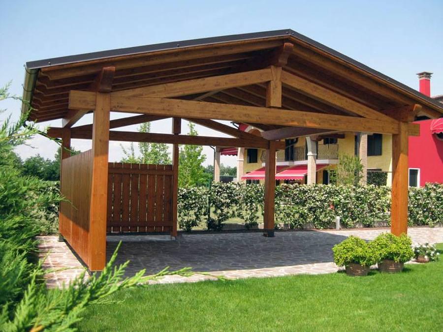 Foto tettoie il legno lamellare di falegnameria ambrosio for Immagini di tettoie in legno