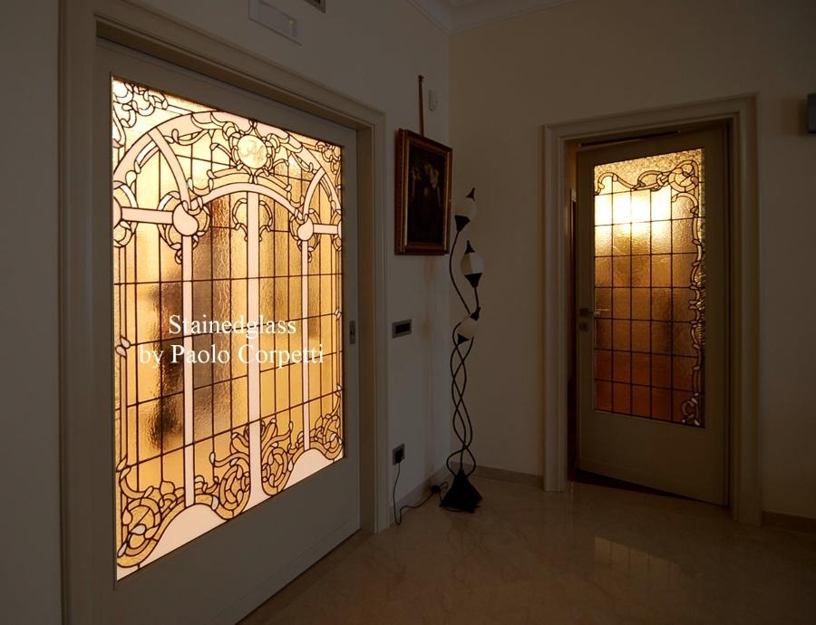 Foto vetrata bianca rilegata a piombo di vetrate artistiche by paolo corpetti 106232 habitissimo - Vetrate per interni ...