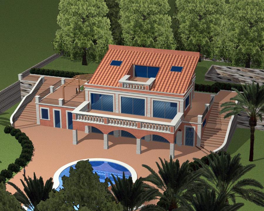 Foto villa unifamiliare con piscina e parco 2 3 de geom for Piani del cortile con piscine