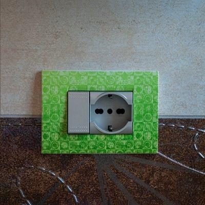 Placche interruttori personalizzate - effetto fantasia verde
