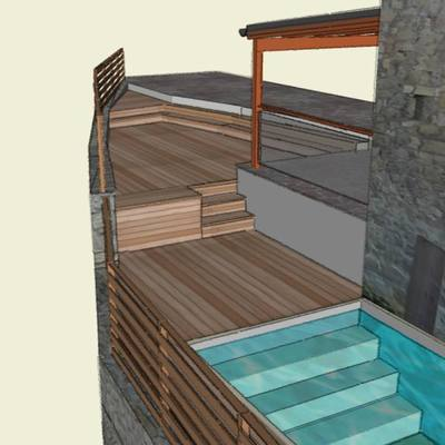 Progetto pavimentazione il legno piscina