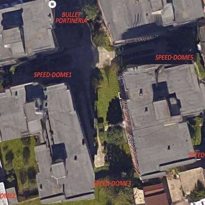 Foto aerea per posizionamento telecamere dopo sopralluogo