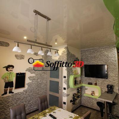 Soffitto teso cucina e decorazione pareti