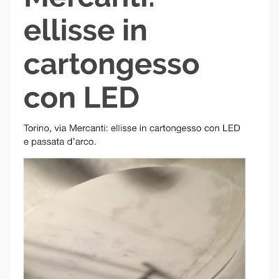 Ellisse in cartongesso con illuminazione a led via mercanti torino