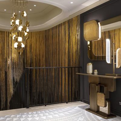 Pavimento in formati di marmo e rivestimento in vetro fiber