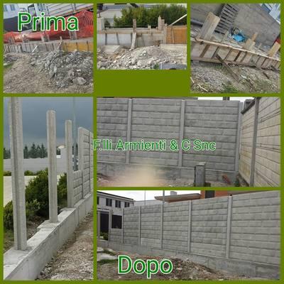 Demolizione e riscostruzione muro di recinzione con montaggio pannelli prefabbricati