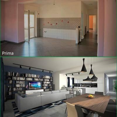 Progetto di ristrutturazione per un living, appartamento privato, Latina