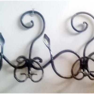Appendiabiti da parete in ferro battuto a 4 posti