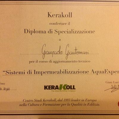 Attestato di specializzazione  kerakoll