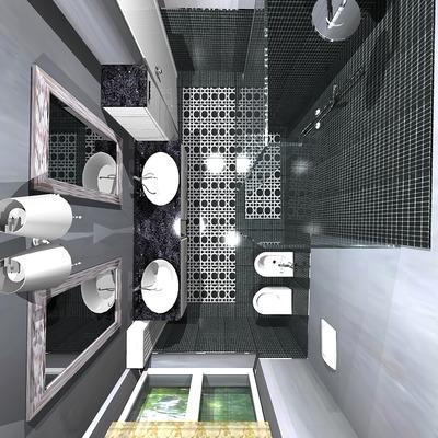 presentazione bagno vista dall'alto 3D