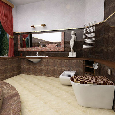 bagno in marmo scuro e legno
