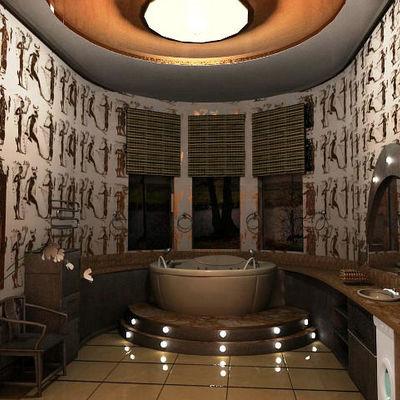 bagno in simil stile egiziano con vasca jacuzzi tonda e piedino con luminarie
