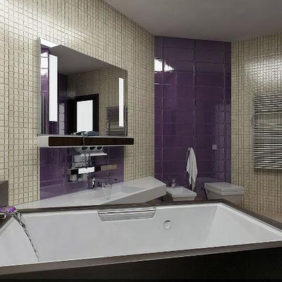 bagno padronale in simil mosaico con vasca idro jacuzzi vibro e getto d' acqua a fontana piatta