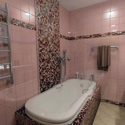 bagno padronale realizzato con alzata completamente perimetrale con colonna e rivestimento vasca completamente moisaicata