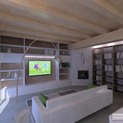 soggiorno moderno e rustico