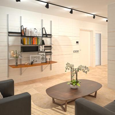 Progetto per Boiserie in legno, appartamento privato, Latina