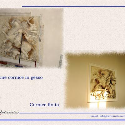 Crazione cornice intorno a scultura in villa Clerici -MI-