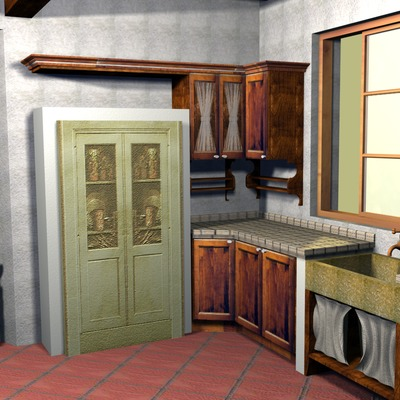 Cucina country 3D