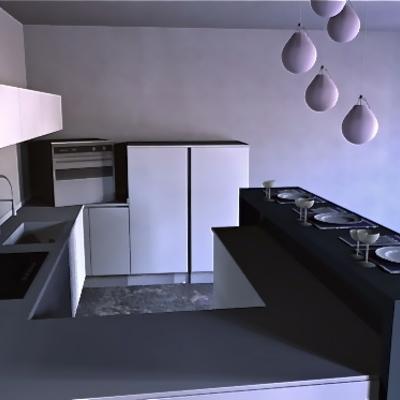 Cucina minimal con isola bar - foto1