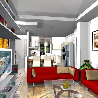 presentazione cucina e zona giorno 3D