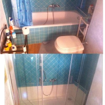 vasca in doccia nicchia con apertura centrale