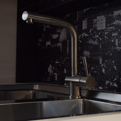 Dettaglio miscelatore abbinato ad un lavello a due vasche (acciaio inox).