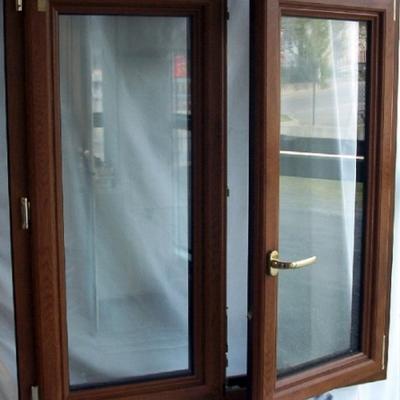 finestra  2 ante pvc pellicolato golden Oak