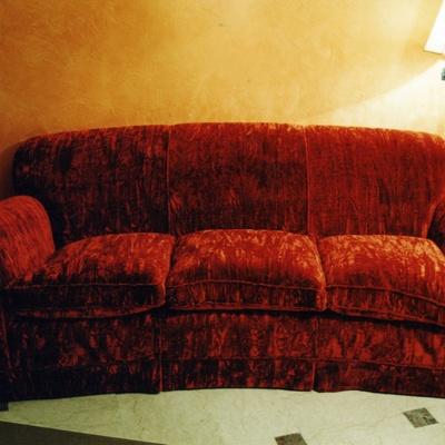 ricopertura divano del cliente con nuovo tessuto