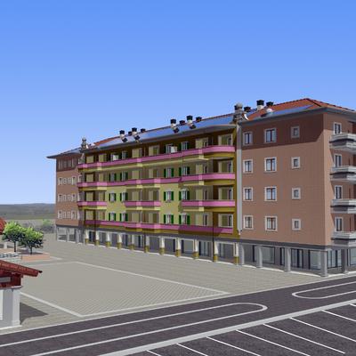 Fotoinserimento edificio con piazza