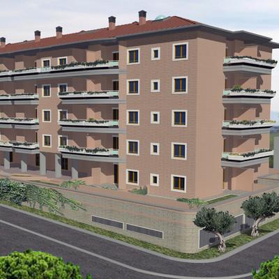 Fotoinserimento render edificio residenziale