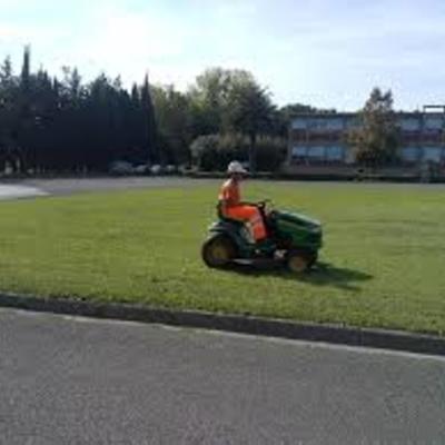 taglio erba con trattorino