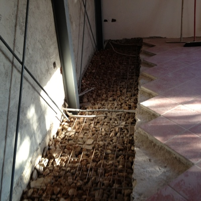 controventatura con  struttura metallica su muri rinforzati con betoncino