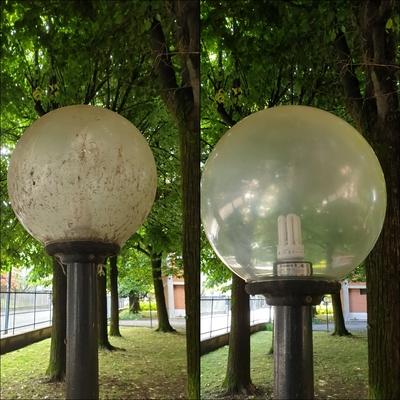 Pulizia porta lampade giardino