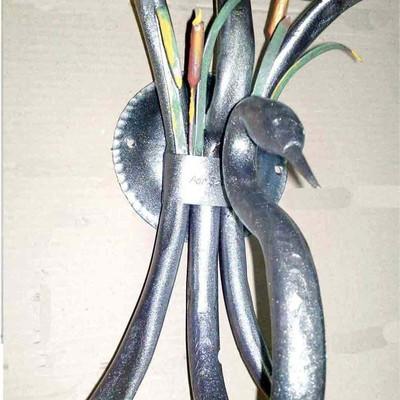 lampada/applique da parete a due luci, a forma di cigno