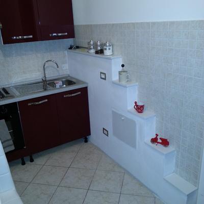 Decorazione cucina con muretto scalettato