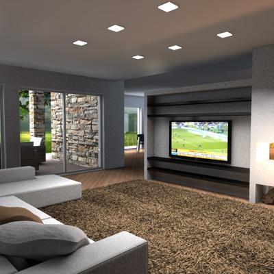 Zona living con partete attrezzata camino e tv