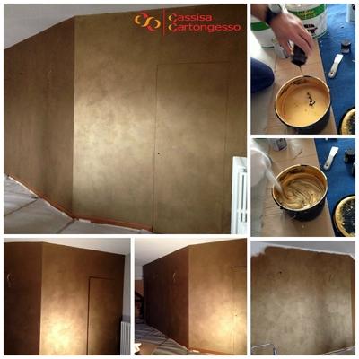 parete decorata con effetto oro & colore