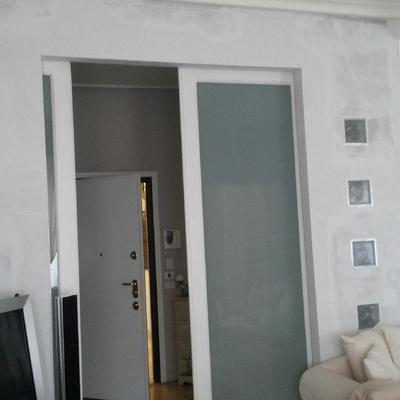 parete in cartongesso con vetrocemento