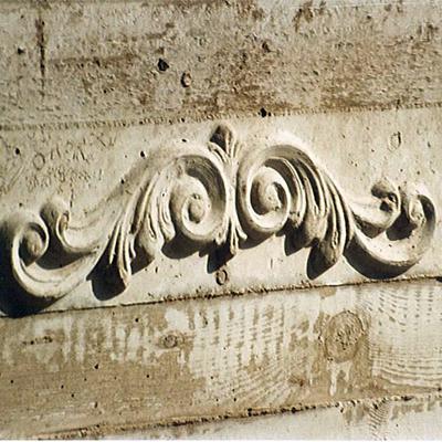 particolare fioriera in cemento