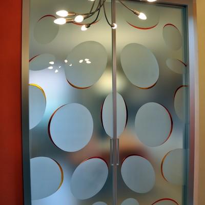 Porta vetro decoro bolle