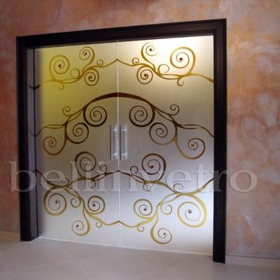 Porte in vetro a scomparsa inciso con formelle - 427