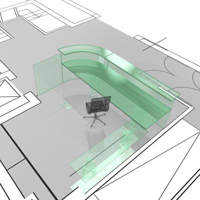 progetto bancone in cristallo di ingresso società  Kyocera-mita