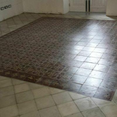 Recupero pavimento in pastina di cemento.