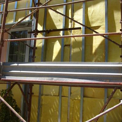 AQUAPANEL : controparete coibentante termoacustica esterna su facciata vetrata